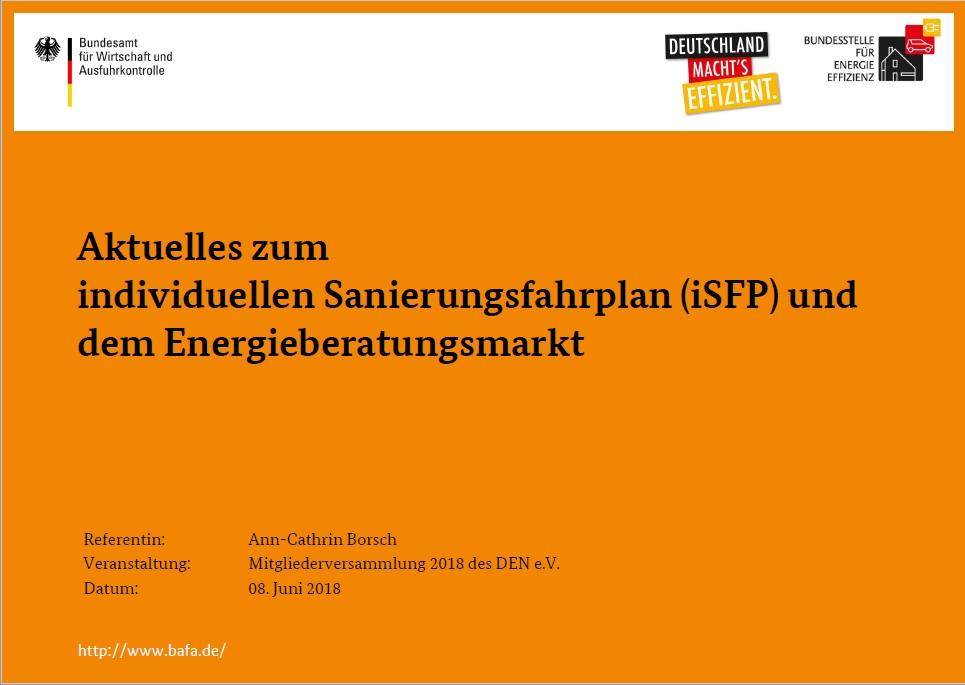 """Vortrag """"Aktuelles zum individuellen Sanierungsfahrplan (iSFP) und dem Energieberatungsmarkt"""""""