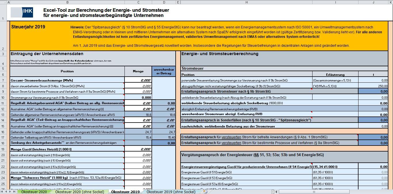 Excel-Tool zur Berechnung der Energie- und Stromsteuer
